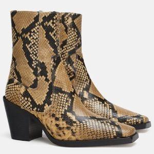 Zara Leather Animal Snakeskin Print Heel Ankle NEW
